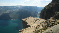 Preacher Pulpit Rock at Lysefjord 4K timelapse - stock footage
