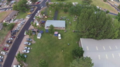 Aerial Community festival in city park HD 003 Stock Footage