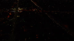 Aerial view of Los Angeles at night Stock Footage
