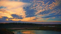 4K  3840x2160 Summer sunset forest lake landscape, time-lapse. Stock Footage