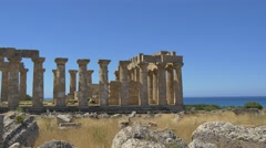 Selinunte Greek Temple Sicily with Tourists 4K 2 Stock Footage