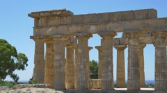 Selinunte Greek Temple Sicily with Tourist 4K Stock Footage