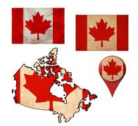 grunge canada flag, map and map pointers - stock illustration