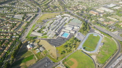 Aerial view of California School or College Stock Footage