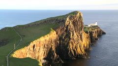 Neist lighthouse Neist Point Inner Hebrides Skye Scotland Stock Footage