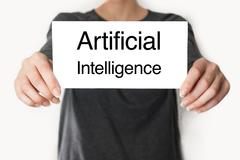 Artificial intelligence. female showing card Stock Photos