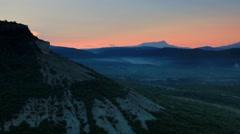 Timelapse sunrise in the mountains. Cave city Tepe-Kerman, Crimea, Russia Stock Footage