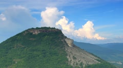 Movement of the clouds on the mountain. Cave city Tepe-Kerman, Crimea Stock Footage