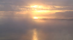 Scottish sunrise morning Haar sea mist Inner Hebrides Scotland Stock Footage