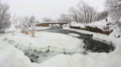 Winter scenic of the River Krynka, Donetsk region, Ukraine. Full HD Stock Footage
