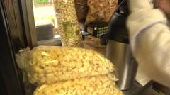 Kettle corn food vendor interior Stock Footage