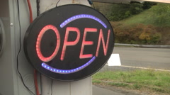Open sign with color led on left of frame Stock Footage