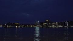 002Sweden port night skyline timelapse Stock Footage
