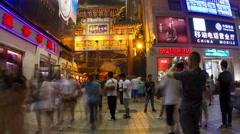 Wangfujing snack street at night HD. Stock Footage