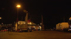 018Sweden port night unloading stenaline ferry Stock Footage