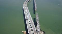 Aerial San Francisco City Oakland Bay Bridge Stock Footage