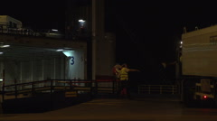 025Sweden port night loading stenaline ferry Stock Footage