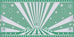 circus green invitation - stock illustration