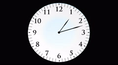 Animation, clock time without seconds, black background, 4K Stock Footage