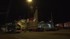 023Sweden port night unloading stenaline ferry Stock Footage