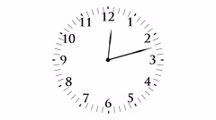 Animation, clock time with seconds, white background, 4K Stock Footage