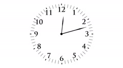 Animation, clock time with seconds, white background, HD Stock Footage
