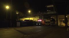 026Sweden port night loading stenaline ferry Stock Footage