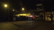 Stock Video Footage of 026Sweden port night loading stenaline ferry