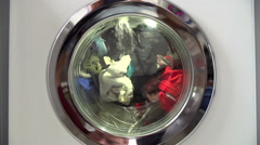 Slow Motion Sequence Of Laundry In Washing Machine Stock Footage