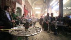 People smoking shisha at Nargile Cafe, Istanbul Stock Footage
