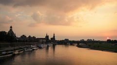 The Skyline of Dresden (Germany) at Sunset Stock Footage