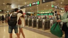 People going to work - Ticket gate Stock Footage