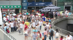 Crowd in Beijing west railway station at daytime HD. Stock Footage