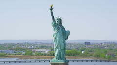 Aerial view of  Statue of Liberty, New York City Stock Footage