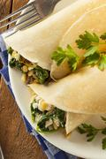 delicious homemade spinach and feta savory french crepes - stock photo