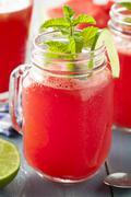 refreshing homemade watermelon agua fresca - stock photo