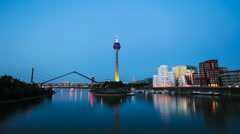 Dusseldorf Skyline at Night, Germany Stock Footage