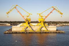 two yellow cranes - stock photo