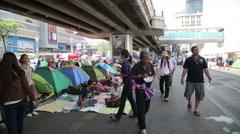 BANGKOK, THAILAND - FEBRUARY 2014: Bangkok shutdown protests Stock Footage