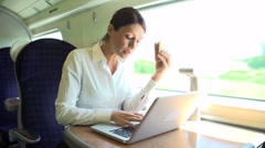 Female Commuter On Train Using Laptop Whilst Eating Sandwich - stock footage