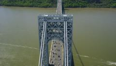 Aerial view of New York City Bridge crossing the Hudson Stock Footage