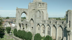 Aerial shot of Crowland Abbey Stock Footage