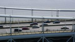 Aerial view of Tappan Zee Bridge New York City Stock Footage