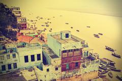 Retro view of varanasi at ganga river, india. Stock Photos