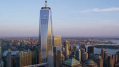 Stock Video Footage of Aerial view of Freedom Tower New York City