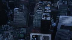 Aerial view of New York City at night Stock Footage