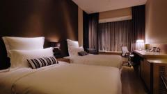 4K Track shot of a luxury hotel room interior Stock Footage