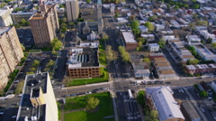 Aerial view of New York City suburb housing Stock Footage