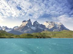Pehoe mountain lake and los cuernos, torres del paine national park, chile. Stock Photos