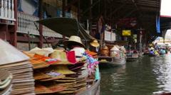 BANGKOK, THAILAND - FEBRUARY 2014: people at floating market Stock Footage